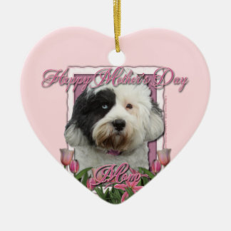 Mothers Day - Pink Tulips - Tibetan Terrier Christmas Tree Ornaments