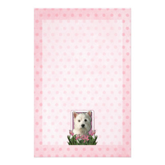 Mothers Day - Pink Tulips - Westie Custom Stationery