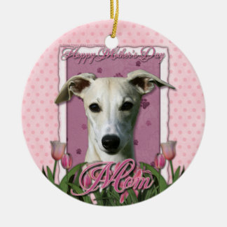 Mothers Day - Pink Tulips - Whippet Christmas Tree Ornament