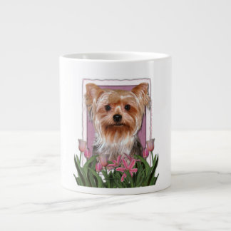 Mothers Day - Pink Tulips - Yorkshire Terrier Large Coffee Mug