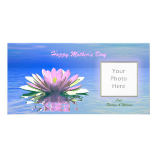 Mother's Day Pink Water Lily Personalized Photo Card