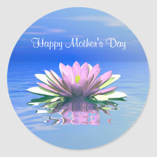 Mother's Day Pink Water Lily Round Sticker