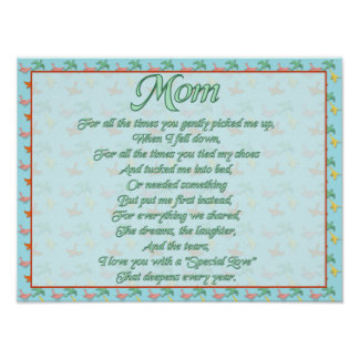 Mothers Day Poem with Birds Print