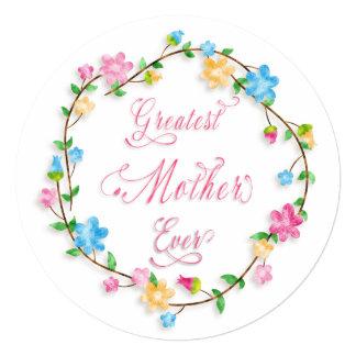 Mother's Day Pretty Floral Wreath Word Art 13 Cm X 13 Cm Square Invitation Card