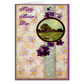 Mother's Day - Purple flowers,Sun and Landscape Greeting Cards