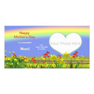 Mother's Day Rainbow Garden Custom Photo Card