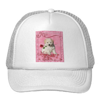 Mothers Day - Red Rose - Bichon Frise Trucker Hat