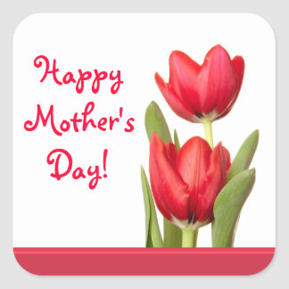 Mother's Day Red Tulips Square Sticker