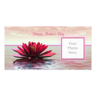 Mother's Day Red Water Lily Photo Card Template