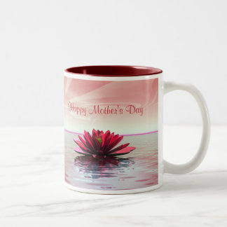 Mother's Day Red Water Lily Two-Tone Coffee Mug