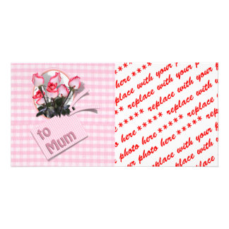 Mother's Day Roses For Mum on Checkered Pink Photo Card