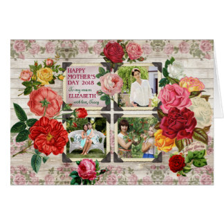 Mother's Day Roses Instagram Vintage Photo Collage Card