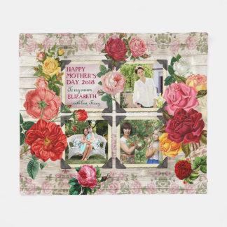 Mother's Day Roses Instagram Vintage Photo Collage Fleece Blanket