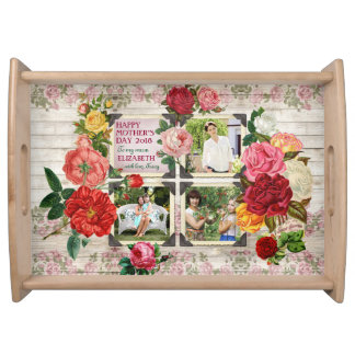 Mother's Day Roses Instagram Vintage Photo Frame Serving Tray
