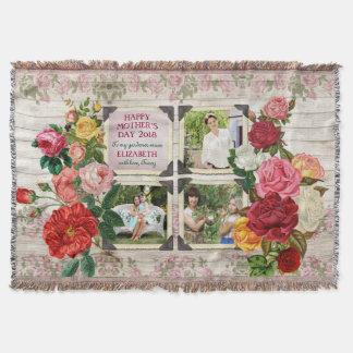 Mother's Day Roses Instagram Vintage Photo Frame Throw Blanket