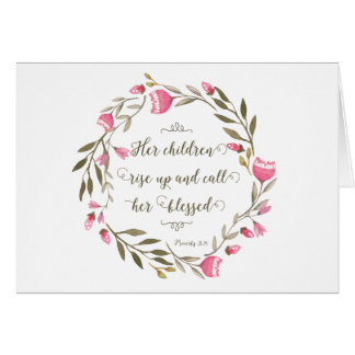 Mother's Day Scripture Proverbs 31:28 Card