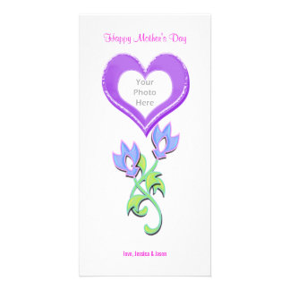 Mother's Day Shiny Heart and Flowers Photo Card Template