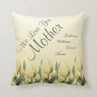 Mothers Day Spring Tulips Love Mum Signed Yellow Throw Pillow