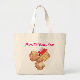 Mother's Day Teddy And A Basket Of Hearts Large Tote Bag