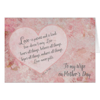 Mother's Day to Wife Scripture 1 Cor 13 Card