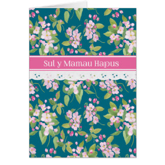 Mother's Day Welsh Greeting Pink Apple Blossom Card