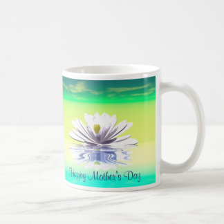 Mother's Day White Water Lily Coffee Mug