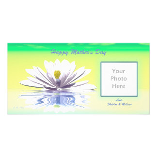 Mother's Day White Water Lily Personalised Photo Card
