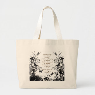 Mother's day wishes black Abusive Large Tote Bag