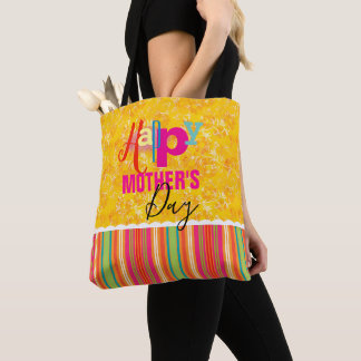 Mother's Day Yellow Damask and Stripes Tote Bag