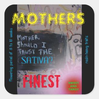 MOTHERS FINEST SATIVA SQUARE STICKER