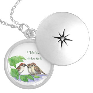 Mother's Love Needs no Words, Sparrow Birds Round Locket Necklace