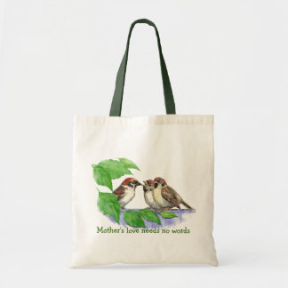 Mother's Love Needs no Words, Sparrow Birds Tote Bag
