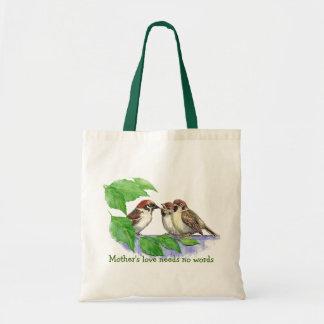 Mother's Love Needs no Words, Sparrow Birds Budget Tote Bag