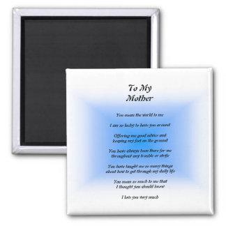 Mother's Poem Square Magnet