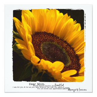 Mothers sunflower photography flat cards 13 cm x 13 cm square invitation card