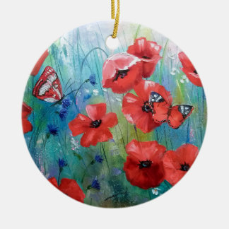 moths and butterflies round ceramic decoration