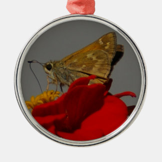 Moths and Red Zinnia Metal Ornament
