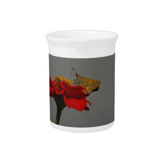Moths and Red Zinnia Pitcher