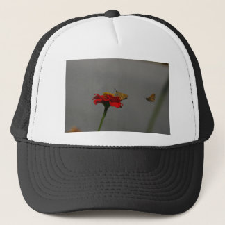 Moths and Red Zinnia Trucker Hat