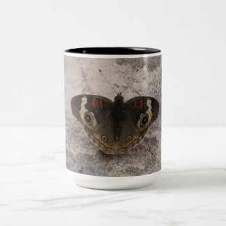 Moths wing pattern of a snakes head Two-Tone coffee mug