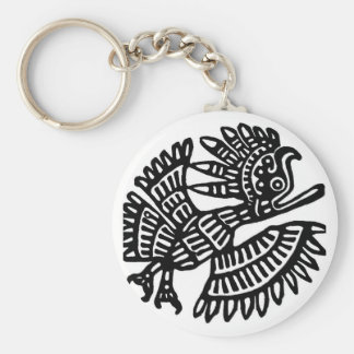 Motif of Ancient Mexico Basic Round Button Key Ring