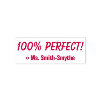 "Motivating ""100% PERFECT!"" + Custom Tutor Name Self-inking Stamp"