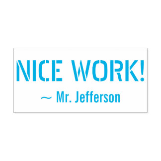 "Motivating ""NICE WORK!"" + Custom Educator Name Self-inking Stamp"