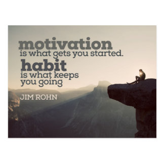 Motivation And Habit by Jim Rohn Postcard