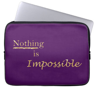 Motivation chic gold typography in purple laptop sleeve