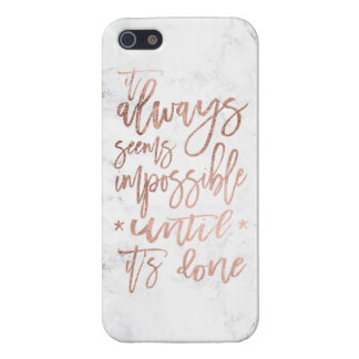 Motivation chic rose gold typography white marble case for the iPhone 5