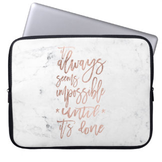 Motivation chic rose gold typography white marble laptop sleeves