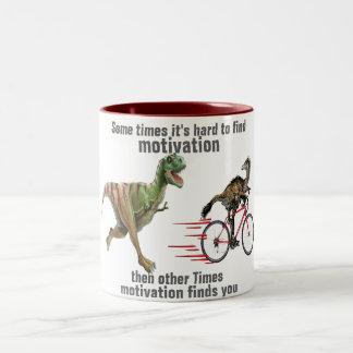 motivation finds you funny t-rex mug design