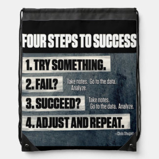 Motivation - Four Steps To Success - Inspirational Drawstring Bag