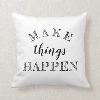 Motivational 3 Word Quote Black White Reversible Cushion